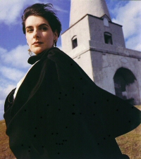 Enya: wearing black cloak, photographed on Killiney Hill.